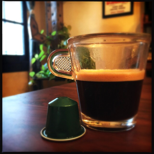 Nespresso's Fortissio Lungo capsule and coffee cup