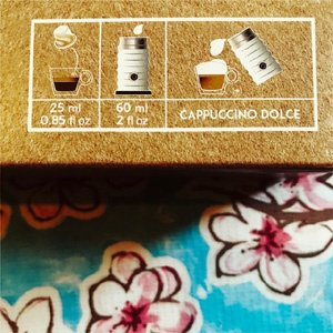 Nespresso's Barista Chiaro coffee capsule box with Cappucino recipe
