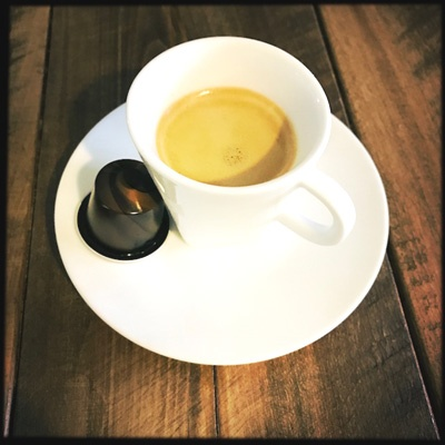 Nespresso's Barista Corto capsule and coffee cup