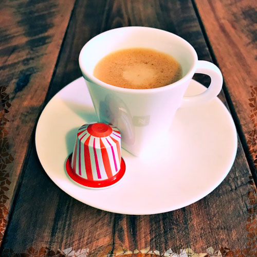 Nespresso's Variation Confetto Orangette review: capsule and coffee cup