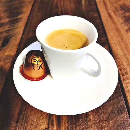 Nespresso's Arabica Ethiopia Harrar review: capsule and coffee cup